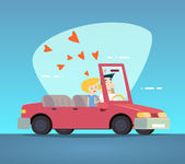 Cartoon Convertible Car Happy Male and Female Couple Love Characters Icon Modern Design Stylish Background Retro Flat Vector Illustration — Stockvector