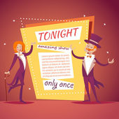Host Lady Girl Boy Man in Suit with Cane and  Cylinder Hat Ads Circus Show Icon on Stylish Background Retro Cartoon Design Vector Illustration — Stock Vector