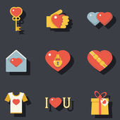St. Valentines Day Symbols Accessories Icons Set Flat Design Template Vector Illustration — Stock Vector