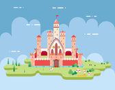 Flat Design Castle Cartoon Magic Fairytale Icon Landscape Background Template Vector Illustration — Stock Vector