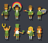Leprechauns Ggnomes Characters set Celebration St. Patrick Icons Flat Design Icon Stylish Background Template Vector Illustration — Stock Vector