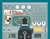 コントロール パネル分析生産開発研究フラット設計コンセプト図の前に科学者ビジネスマンの仕事 — ストックベクタ