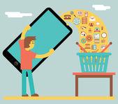 Online Mobile Marketing Sale and Buy Concept Icon on Stylish Background Flat Design Vector Illustration — Cтоковый вектор