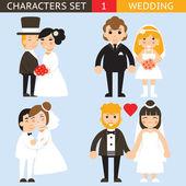 Wedding characters set flat desingn icons vector illustration — Stock Vector