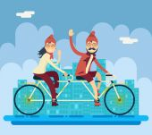 Hipster Male Female Characters Riding Companion Tandem Bicycle Concept Urban Landscape City Street Background Creative Flat Design Vector Illustration — Stock Vector