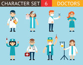 Doctor and Nurse Characters Madical Icon Set Symbol with Accessories on Stylish Background Flat Design Concept Template Vector Illustration — Stock Vector