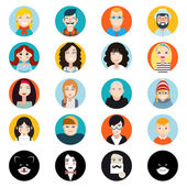 Stylish Handsome Male and Female Characters Avatar Collection of Faces Icons in Flat Design Vector Illustration — Stock Vector