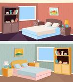 Cartoon Schlafzimmer Wohnung Wohnzimmer Interior Haus Zimmer Retro Vintage Hintergrund Vektor-Illustration — Stockvektor