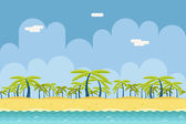 Seamless Sunny Beach Ocean Sea Nature Concept Flat Design Landscape Background Template Vector Illustration — Vecteur