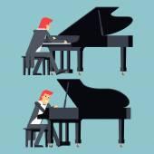 Piyanist piyano çalan kavramı karakter düz tasarımı şık arka plan şablonu vektör çizim üzerinde — Stok Vektör