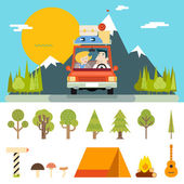 Family Trip Road Car Concept Flat Design Icon Mountain Forest Background Vector Illustration — Stock Vector
