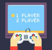 Retro Games Player Hands Joystick TV Monitor Screen Flat Icon Isolated Set Vector Illustration — Stock Vector