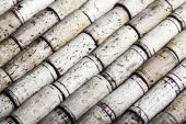 Close-up horizontal format image of used wine bottle corks background — Stock Photo