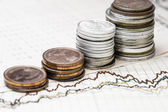 Coins on charts background in the horizontal format — Stock Photo