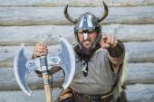 Portrait of the angry viking — Stock Photo
