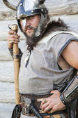 The portrait of the Viking with his ax — Stock Photo