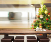 Wood Table Top Background In Holiday — Stock Photo