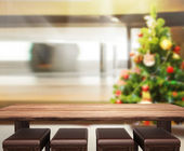 Wood Table Top Background In Holiday — Стоковое фото