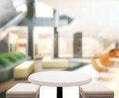Legno tavolo Top Background In ufficio 3d render — Foto Stock