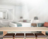 Table Top And Blur Background In Bedroom — Stock Photo