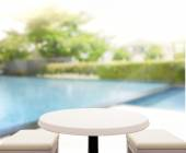 Wood Table Top Background And Pool — Stock Photo