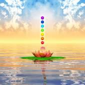 Sacred Lotus And Chakra Spheres — Stock Photo