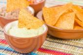 Tortilla Chips & Dips — Stock Photo