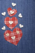 Textile applique for Valentine's Day. — 图库照片