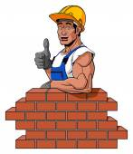 Happy bricklayer — Stock Vector