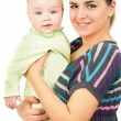 Beautiful mother holding the hands of his baby — Stock Photo #54187985