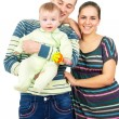 Happy parents holding the hands of his baby — Stock Photo #54189901