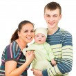 Happy parents holding the hands of his baby — Stock Photo #54189957