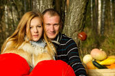Beautiful young couple in nature — Stock Photo
