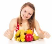 Girl on a diet, joy fruit — Stock Photo