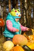 Little girl playing with pumpkins — Stock Photo