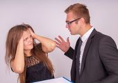 The boss is not satisfied with the work of subordinate — Stock Photo