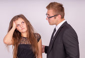 The boss is not satisfied with the work young of subordinate — Stock Photo