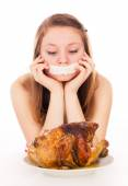 The girl on a diet, and want to eat meat — Stock Photo