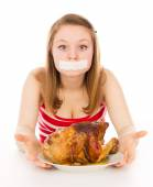 Young girl on a diet, and want to eat meat — Stock Photo