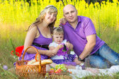 Family couple on nature, picnic — Stock Photo