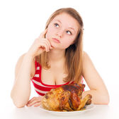 Beautiful girl thinks, eat meat — Stock Photo