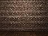 Fondo con piso de madera de pared de piedra — Foto de Stock