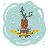 Christmas greeting card with deer and gift — Vetor de Stock