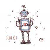 Robô com coração, eu te amo — Vetor de Stock