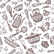 Постер, плакат: Seamless pattern of kitchen items