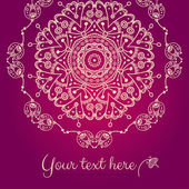 Abstract vector card with ornamental round mandala — Vetor de Stock