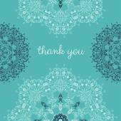Thank you card with abstract vector ornamental round mandala — Stock vektor