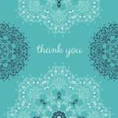 Thank you card with abstract vector ornamental round mandala — Vector de stock