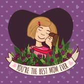 Greeting card for blonde mom with love — Stok Vektör