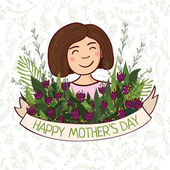 Greeting card with Mother's day — Stok Vektör